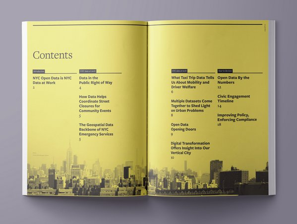2018 Open Data Report table of contents