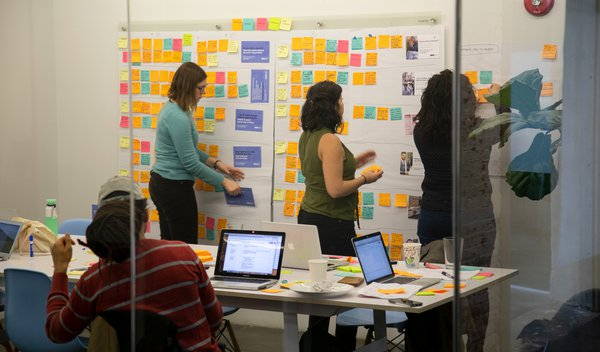 The team works to synthesize research from user testing